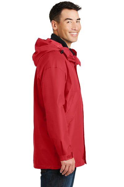 Port Authority J777 Mens 3-in-1 Wind & Water Resistant Full Zip Hooded Jacket Red Side