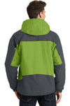 Port Authority J792 Mens Nootka Waterproof Full Zip Hooded Jacket Pistachio Green/Grey Back