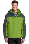 Port Authority J792 Mens Nootka Waterproof Full Zip Hooded Jacket Pistachio Green/Grey Front