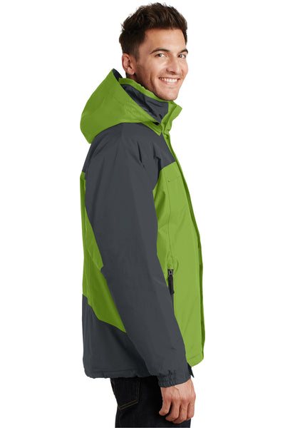 Port Authority J792 Mens Nootka Waterproof Full Zip Hooded Jacket Pistachio Green/Grey Side