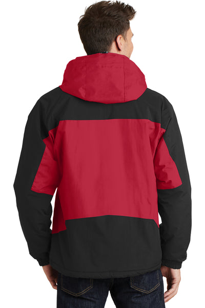 Port Authority J792 Mens Nootka Waterproof Full Zip Hooded Jacket Red/Black Back