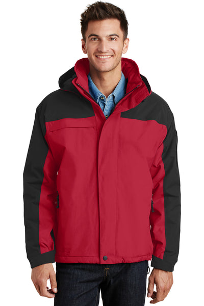 Port Authority J792 Mens Nootka Waterproof Full Zip Hooded Jacket Red/Black Front