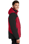 Port Authority J792 Mens Nootka Waterproof Full Zip Hooded Jacket Red/Black Side