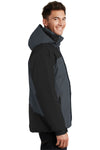Port Authority J792 Mens Nootka Waterproof Full Zip Hooded Jacket Graphite Grey/Black Side