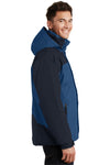 Port Authority J792 Mens Nootka Waterproof Full Zip Hooded Jacket Regatta Blue/Navy Blue Side