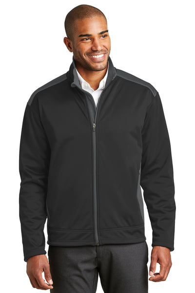 Port Authority J794 Mens Wind & Water Resistant Full Zip Jacket Black/Grey Front