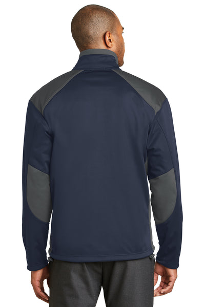 Port Authority J794 Mens Wind & Water Resistant Full Zip Jacket Navy Blue/Grey Back