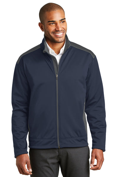 Port Authority J794 Mens Wind & Water Resistant Full Zip Jacket Navy Blue/Grey Front