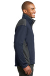 Port Authority J794 Mens Wind & Water Resistant Full Zip Jacket Navy Blue/Grey Side