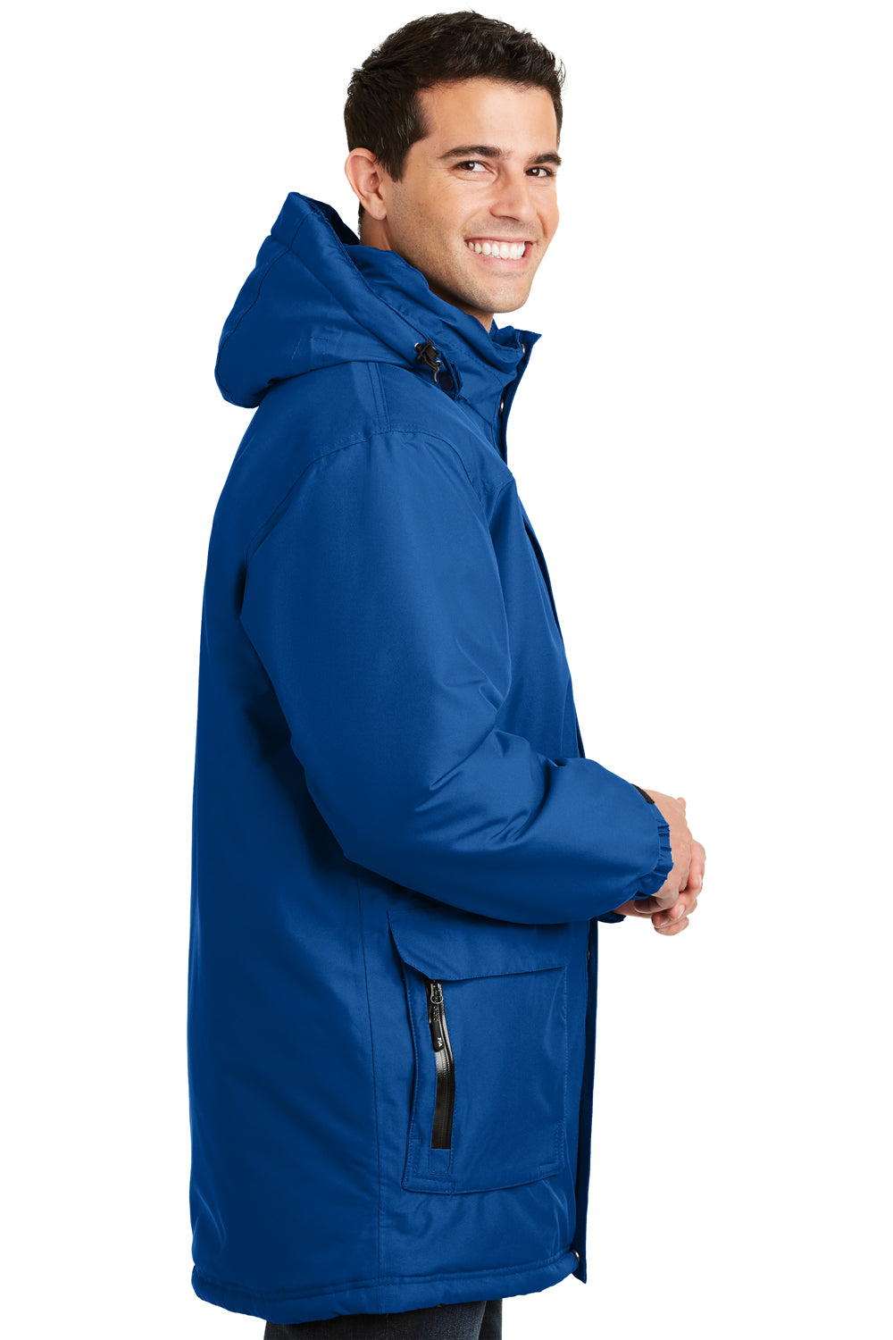 Port Authority J799 Mens Waterproof Full Zip Hooded Jacket Royal Blue Side