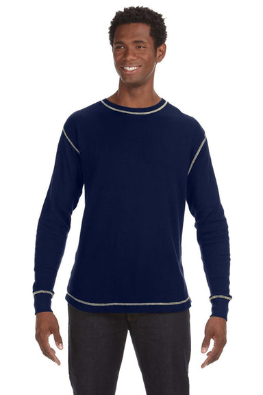 J America JA8238 Mens Vintage Thermal Long Sleeve Crewneck T-Shirt Navy Blue Front