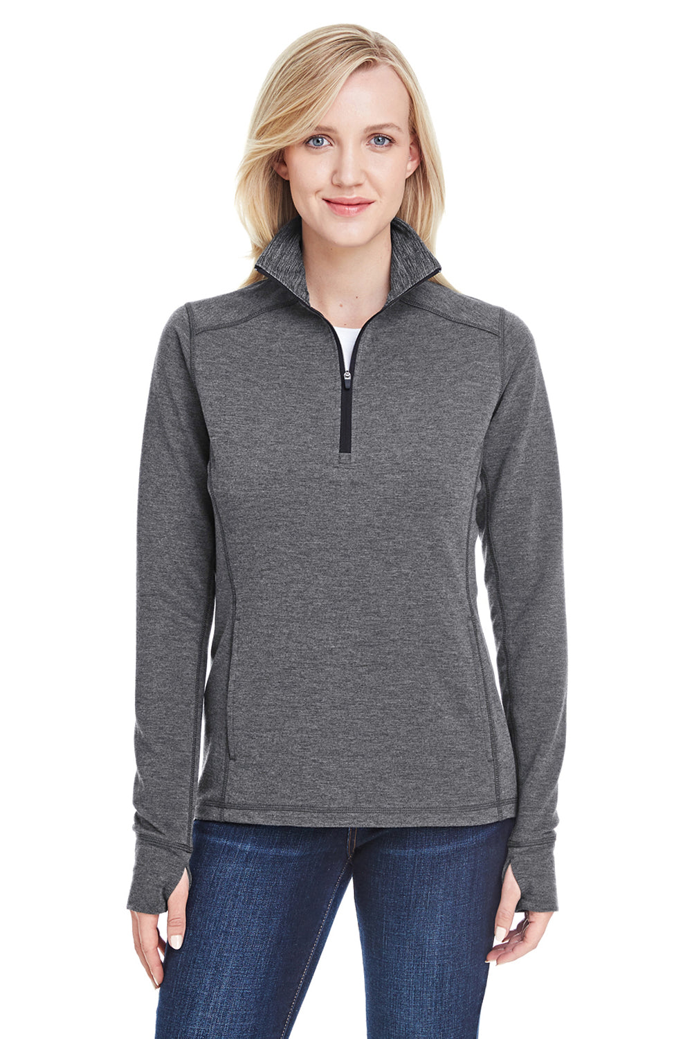 J America JA8433 Womens Omega Sueded Terry 1/4 Zip Sweatshirt Charcoal Grey Front