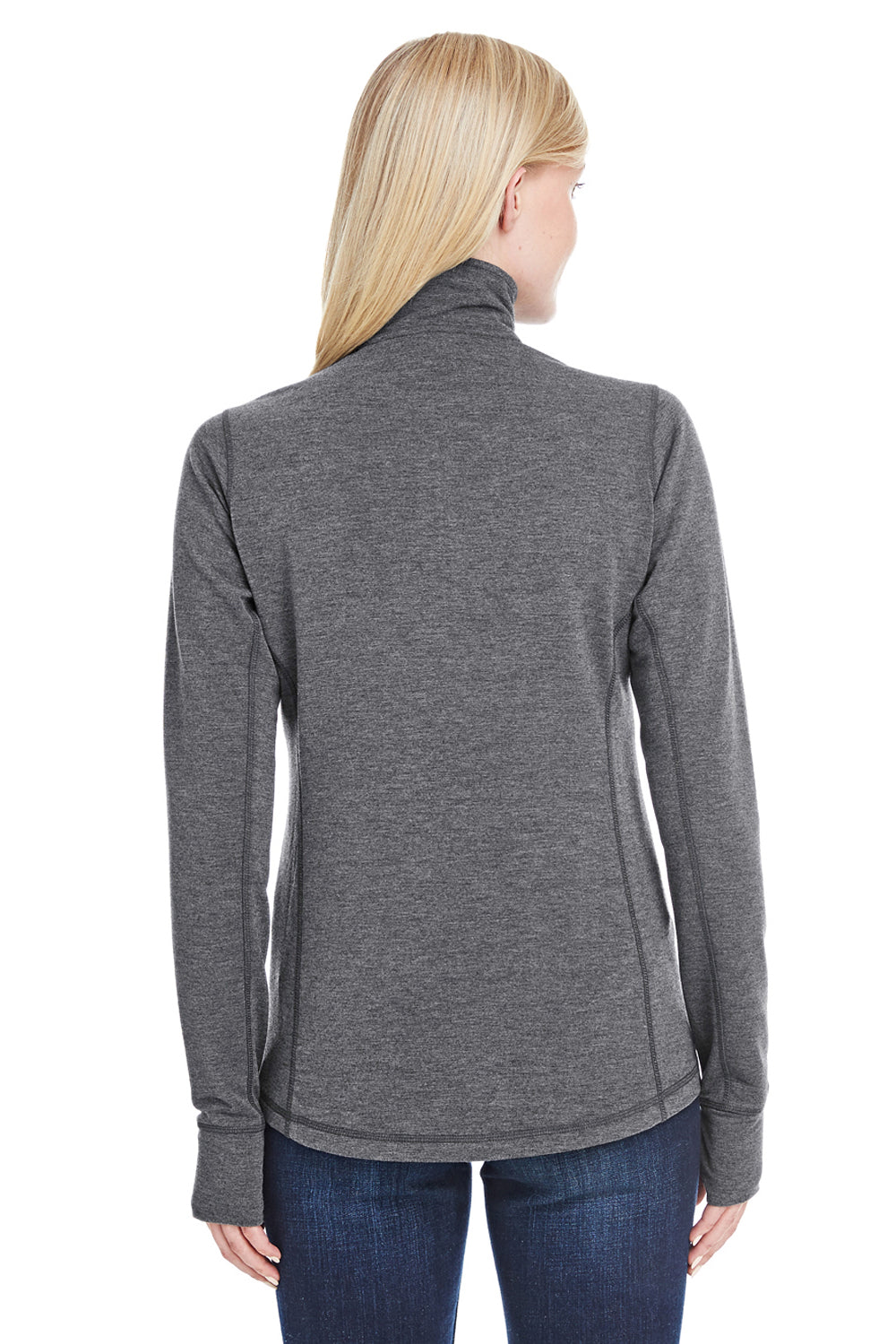 J America JA8433 Womens Omega Sueded Terry 1/4 Zip Sweatshirt Charcoal Grey Back