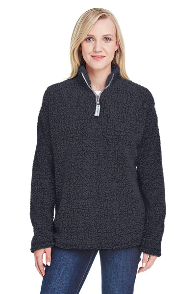 J America JA8451 Womens Epic Sherpa Fleece 1/4 Zip Sweatshirt Black Front