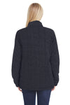 J America JA8451 Womens Epic Sherpa Fleece 1/4 Zip Sweatshirt Black Back