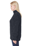 J America JA8451 Womens Epic Sherpa Fleece 1/4 Zip Sweatshirt Black Side