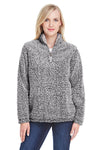 J America JA8451 Womens Epic Sherpa Fleece 1/4 Zip Sweatshirt Heather Black Front