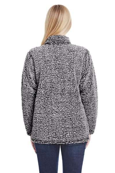 J America JA8451 Womens Epic Sherpa Fleece 1/4 Zip Sweatshirt Heather Black Back