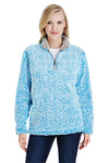 J America JA8451 Womens Epic Sherpa Fleece 1/4 Zip Sweatshirt Heather Sapphire Blue Front