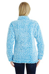 J America JA8451 Womens Epic Sherpa Fleece 1/4 Zip Sweatshirt Heather Sapphire Blue Back
