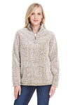 J America JA8451 Womens Epic Sherpa Fleece 1/4 Zip Sweatshirt Heather Oatmeal Front