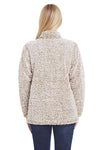 J America JA8451 Womens Epic Sherpa Fleece 1/4 Zip Sweatshirt Heather Oatmeal Back