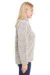 J America JA8451 Womens Epic Sherpa Fleece 1/4 Zip Sweatshirt Heather Oatmeal Side