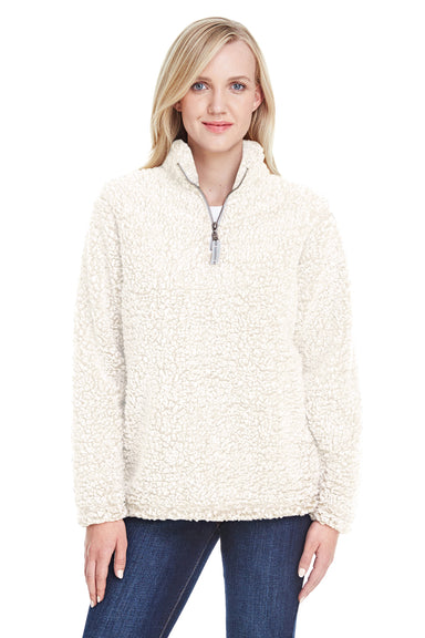 J America JA8451 Womens Epic Sherpa Fleece 1/4 Zip Sweatshirt Cream Front