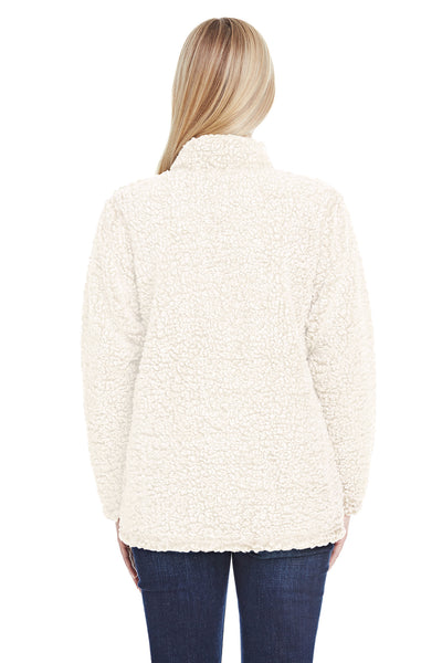 J America JA8451 Womens Epic Sherpa Fleece 1/4 Zip Sweatshirt Cream Back