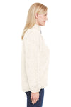 J America JA8451 Womens Epic Sherpa Fleece 1/4 Zip Sweatshirt Cream Side