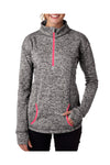 J America JA8617 Womens Cosmic Fleece 1/4 Zip Sweatshirt Charcoal Grey/Coral Pink Front