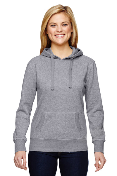 J America JA8860 Womens Glitter French Terry Hooded Sweatshirt Hoodie Oxford Grey Front