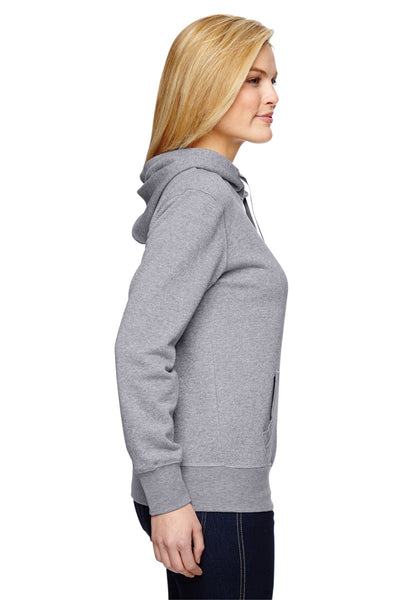 J America JA8860 Womens Glitter French Terry Hooded Sweatshirt Hoodie Oxford Grey Side