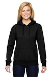 J America JA8860 Womens Glitter French Terry Hooded Sweatshirt Hoodie Black Front