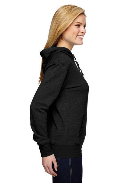 J America JA8860 Womens Glitter French Terry Hooded Sweatshirt Hoodie Black Side