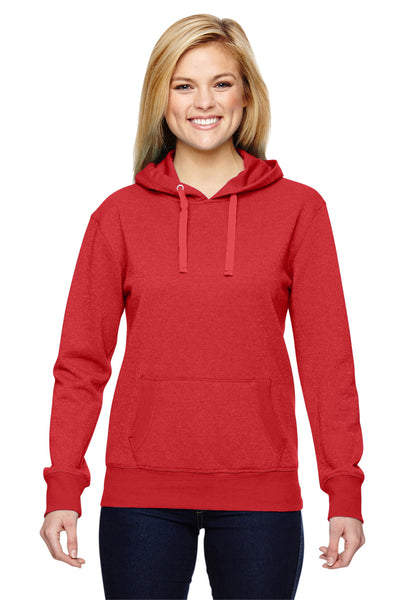 J America JA8860 Womens Glitter French Terry Hooded Sweatshirt Hoodie Red Front