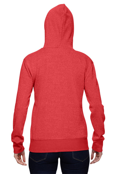 J America JA8860 Womens Glitter French Terry Hooded Sweatshirt Hoodie Red Back