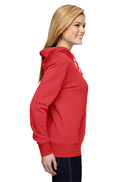 J America JA8860 Womens Glitter French Terry Hooded Sweatshirt Hoodie Red Side