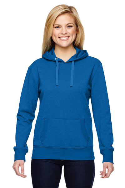 J America JA8860 Womens Glitter French Terry Hooded Sweatshirt Hoodie Royal Blue Front