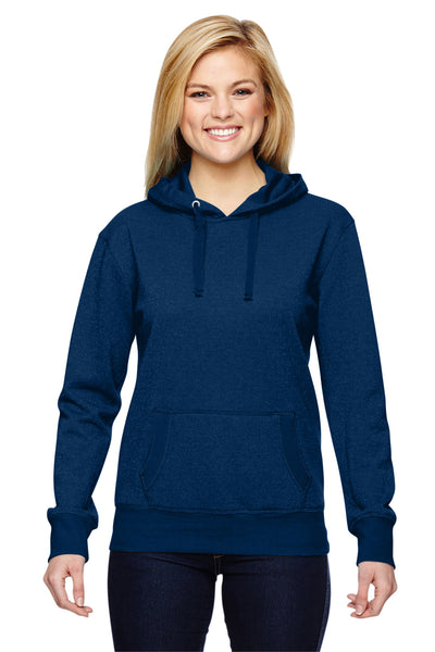 J America JA8860 Womens Glitter French Terry Hooded Sweatshirt Hoodie Navy Blue Front