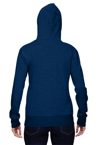 J America JA8860 Womens Glitter French Terry Hooded Sweatshirt Hoodie Navy Blue Back