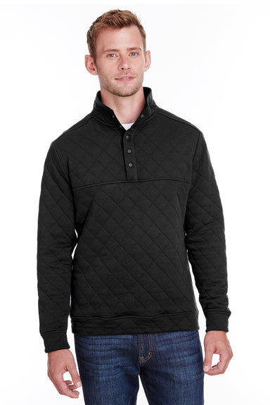 J America JA8890 Mens Quilted 1/4 Snap Down Sweatshirt Black Front