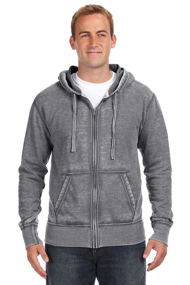 J America JA8916 Mens Vintage Zen Burnout Fleece Full Zip Hooded Sweatshirt Hoodie Smoke Grey Front