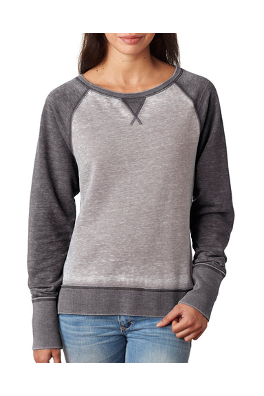 J America JA8927 Womens Zen Burnout Crewneck Sweatshirt Grey/Dark Grey Front