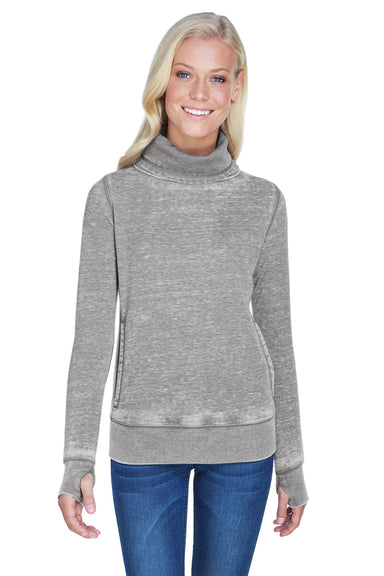J America JA8930 Womens Zen Burnout Fleece Cowl Neck Sweatshirt Cement Grey Front