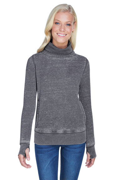 J America JA8930 Womens Zen Burnout Fleece Cowl Neck Sweatshirt Smoke Grey Front