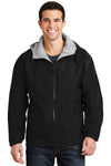 Port Authority JP56 Mens Team Wind & Water Resistant Full Zip Hooded Jacket Black Front
