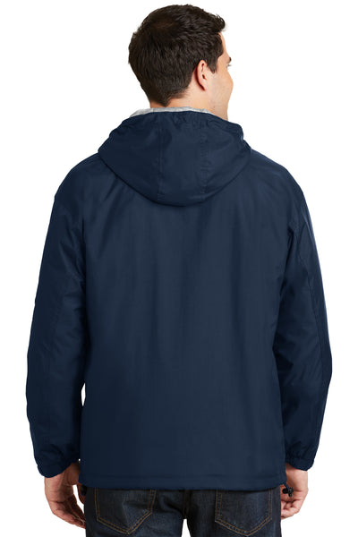Port Authority JP56 Mens Team Wind & Water Resistant Full Zip Hooded Jacket Navy Blue Back