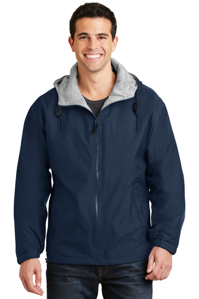 Port Authority JP56 Mens Team Wind & Water Resistant Full Zip Hooded Jacket Navy Blue Front