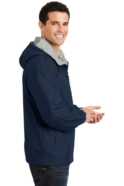 Port Authority JP56 Mens Team Wind & Water Resistant Full Zip Hooded Jacket Navy Blue Side